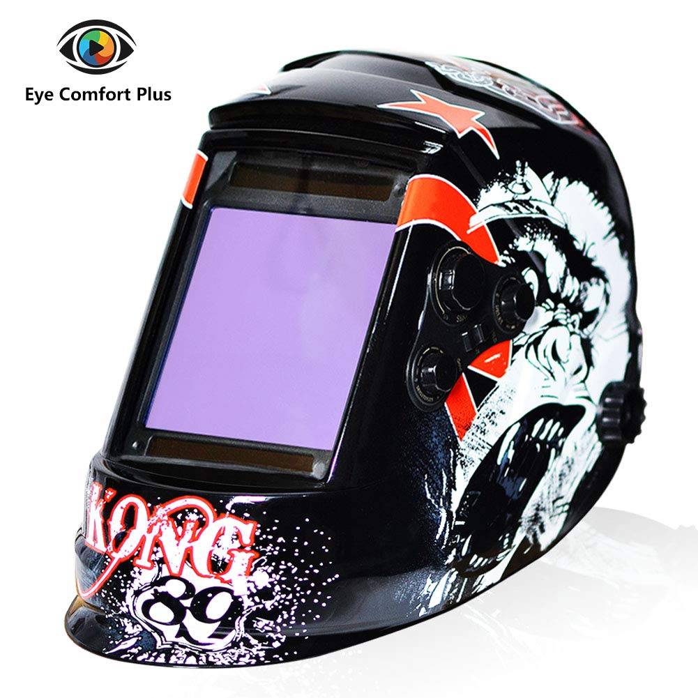 Tekware Welding Helmet 4C Lens Technology Solar Power Auto Darkening Hood True Color LCD Welder Mask Ultra Large Viewing Area Breathable Grinding Helmets with Adjustable Shade Range by Tekware (Image #1)