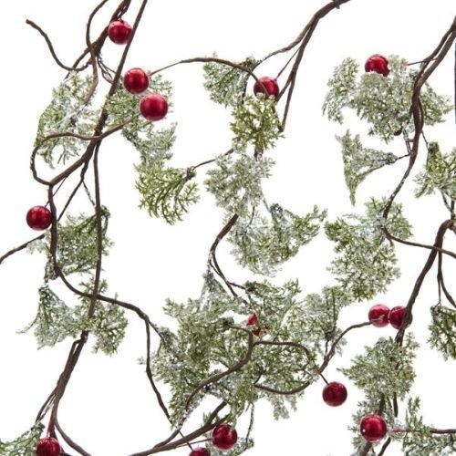 Kurt Adler Snow Leaf and Berry Garland, 5-Feet, Green/Red