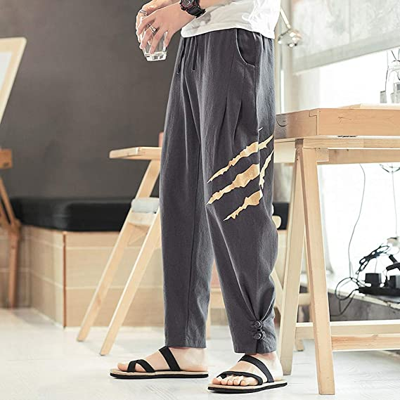 LEERYAAY Cargo/&Chinos Mens Summer Casual Cotton and Linen Print Drawstring Long Pants Harem Trouser