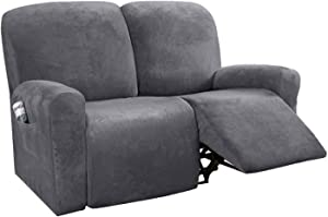 MO&SU Velvet Stretch Recliner Slipcover for 1 2 3 Seater Reclining Cover for Armrest Recliner Furniture Protector Sofa Cover-Gray-Loveseat (6 PCS)