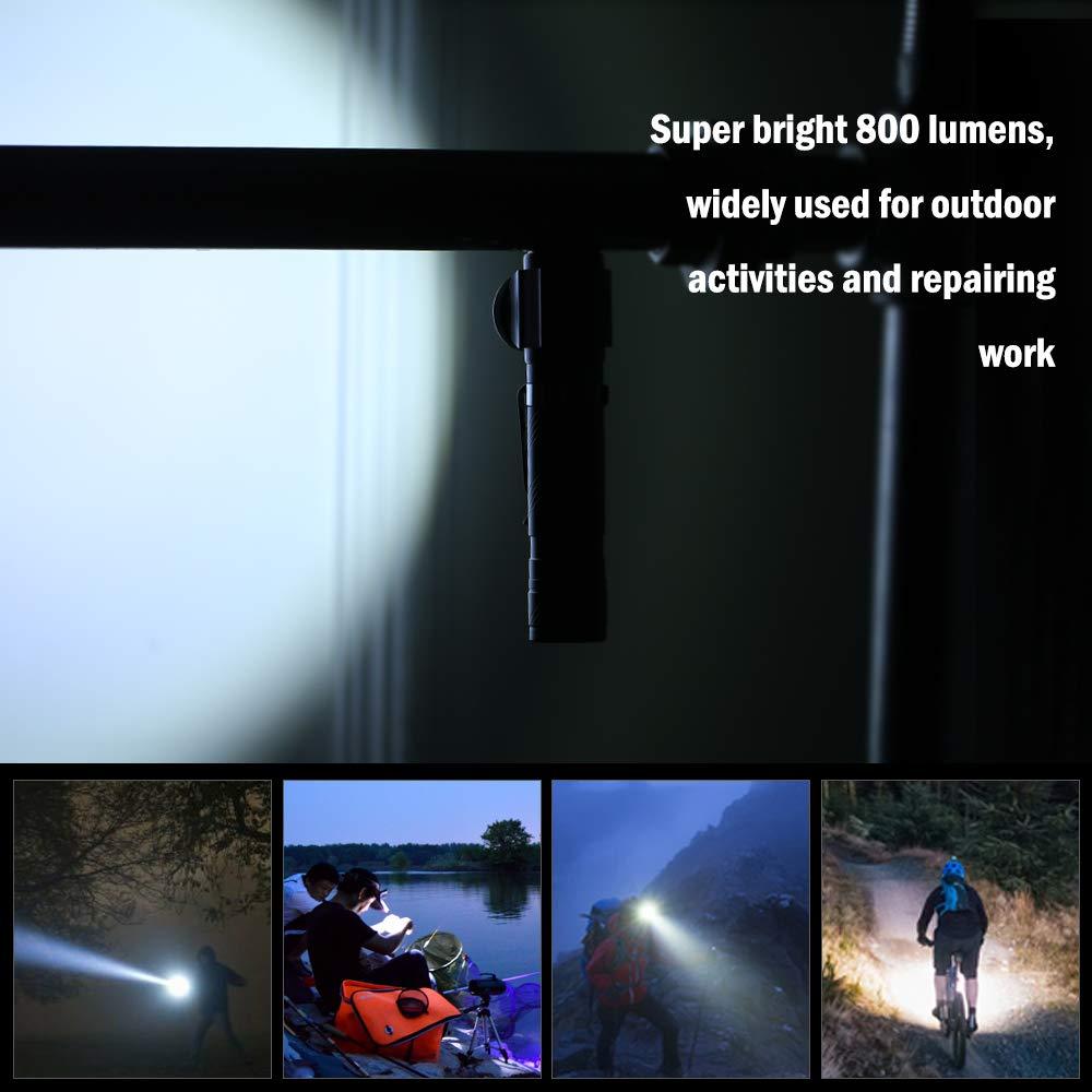 Lixada 3W Linterna Recargable Mini LED con Zoom USB con Base de im/án 3 Modos de iluminaci/ón IPX6 Linterna telesc/ópica Resistente al Agua para Pescar al Aire Libre Acampar