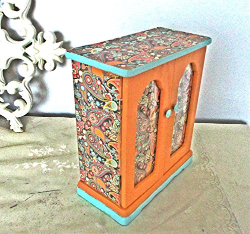 Jewelry Box, Upcycled, Vintage, Cantaloupe, Mint Green, Paisley Design, Jewelry Armoire, Shabby Chic, Gifts For Teens, Hand Painted, Vanity Tray Display, Decoupage Design Armoire