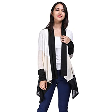 65ef8afec90826 Fancyqube Women s See Through Lightweight Color Block Long Sleeve Draped Open  Front Cardigan Black S