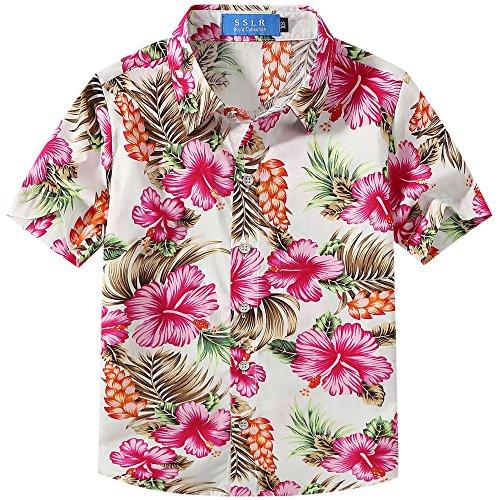 Hawaiian Shirt Hibiscus (SSLR Big Boy's Hibiscus Cotton Short Sleeve Casual Button Down Hawaiian Shirt (Medium(10-12), White Rose))