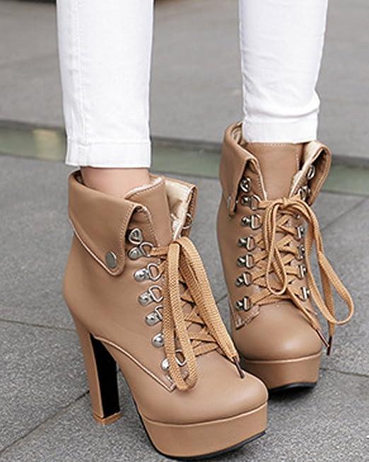 Femme Bottes Hiver Haut Minetom Automne Talons Mode Boots wtaC1q