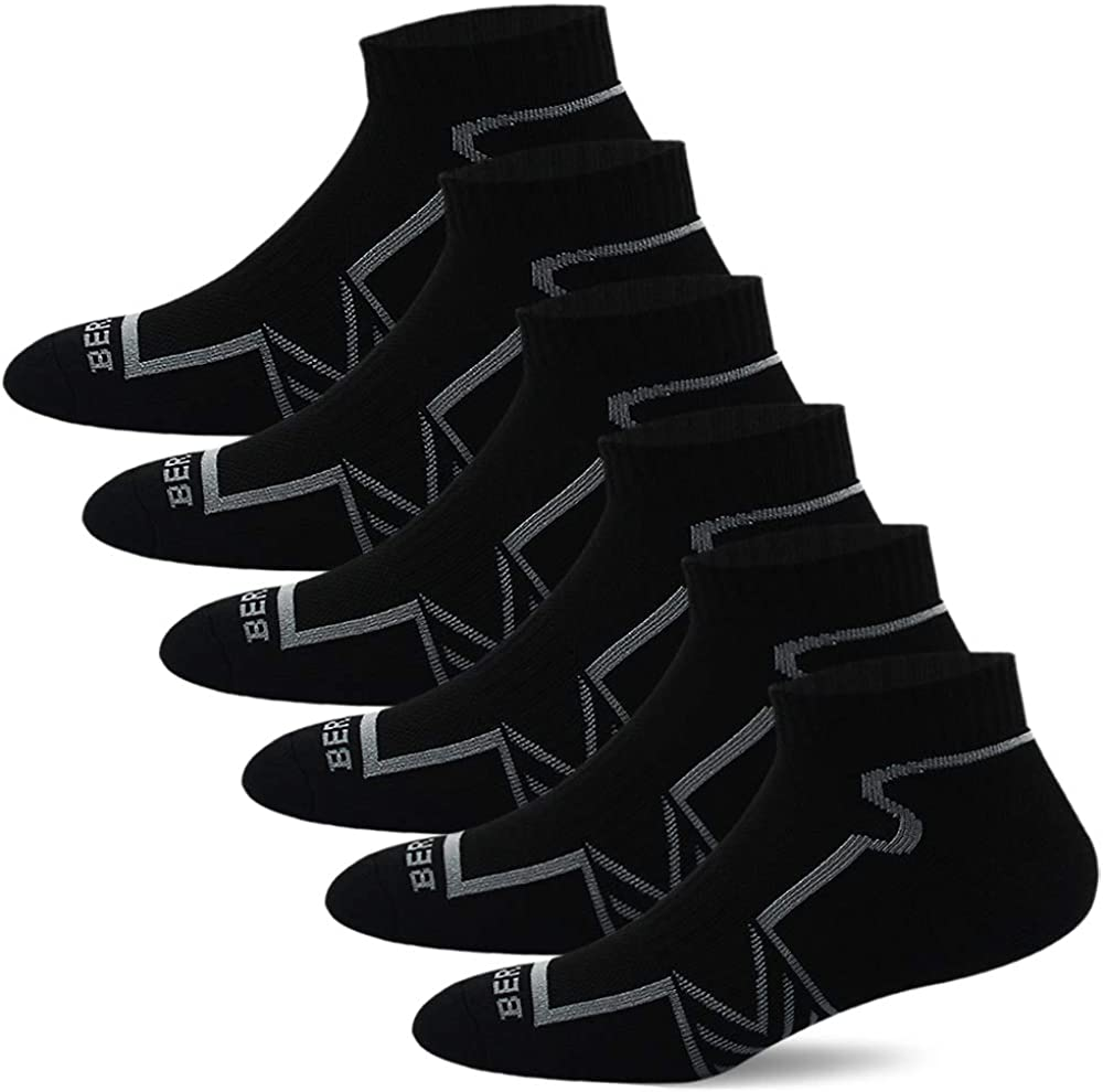 BERING Men's Performance Ankle Running Socks (6 Pack): Clothing