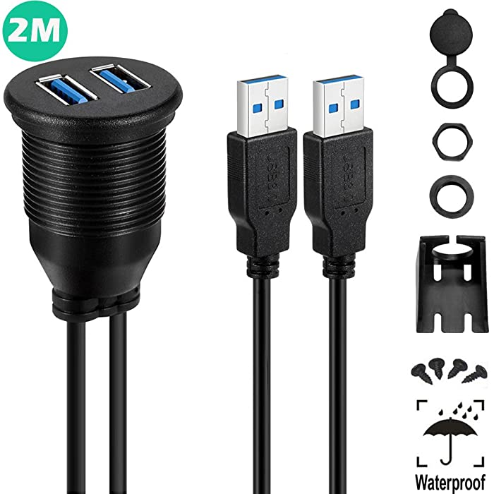 USB 3.0 Mount Cable - Powerbeast 2M/6.6ft Dual USB 3.0 Extension USB Mount,Dash Mount,Flush Mount,Panel Mount Cable for Car Boat Motorcycle