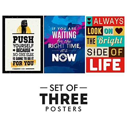 KHIRKI Motivational Posters For Office And Study Room   Set Of 3  Inspirational Wall Quotes|