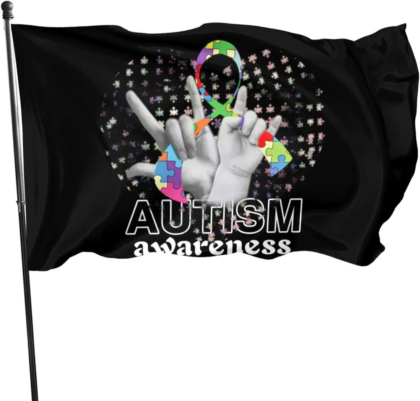 EROOU8W Ribbon Jigsaw Puzzle Autism Awareness Strong Flag 3x5,Love Support Advocate Autism Acceptance Flag 3x5 FT Banner Indoor Outdoor for Yard Garden House Decorative Home Fall Flag Decor
