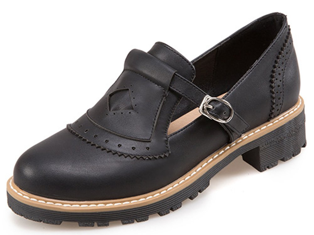 IDIFU Women's Dressy Buckled Low Chunky Heels Oxfords Low Top Round Toe Brogues Shoes Black 4 B(M) US