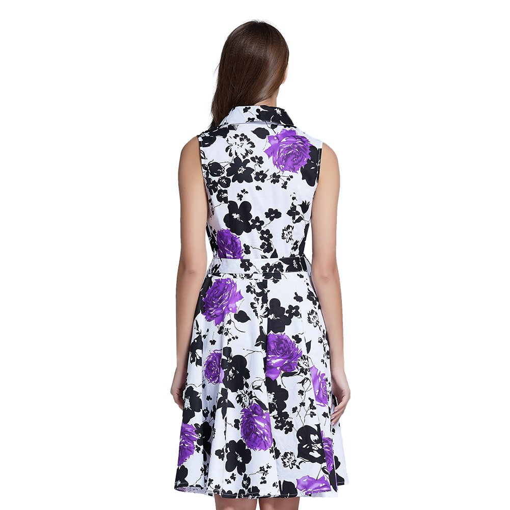 Fancyqube Womens Vintage V Neck 1950s Rose Floral Party Cocktail Dress Small Purple: Amazon.co.uk: Clothing
