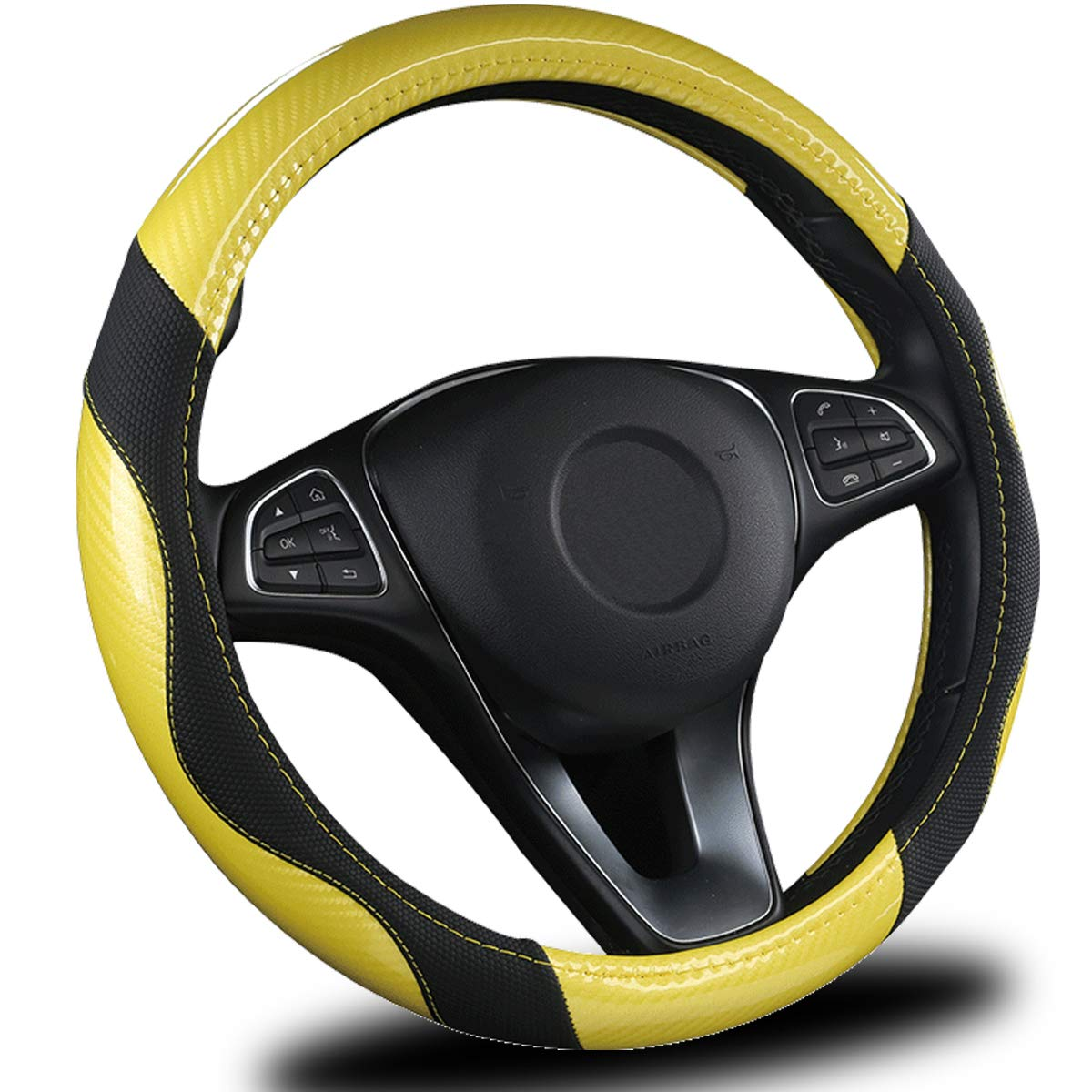 AmeriLuck Steering Wheel Cover for Car, Universal 15 inch, Odorless, Breathable, Anti-Slip, Sporty, Soft and Snug Grip, Carbon Fiber Effect (Yellow   Black)