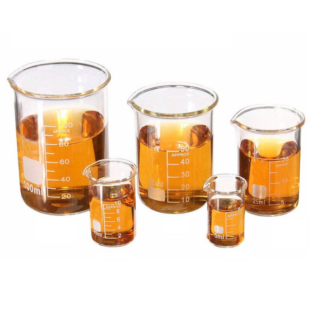 LIPOVOLT Set 5ml-100ml Chemistry Laboratory Glass Beaker Borosilicate Measuring Glasswar by lipovolt
