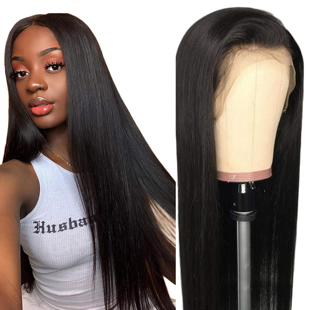 360 Human Hair Lace Wigs, VIPbeauty 130% Density Glueless Brazilian Straight Human Hair 360 Lace Frontal Wigs Pre Plucked with Baby Hair for Black Women(10'', Nature Color) by VIPbeauty