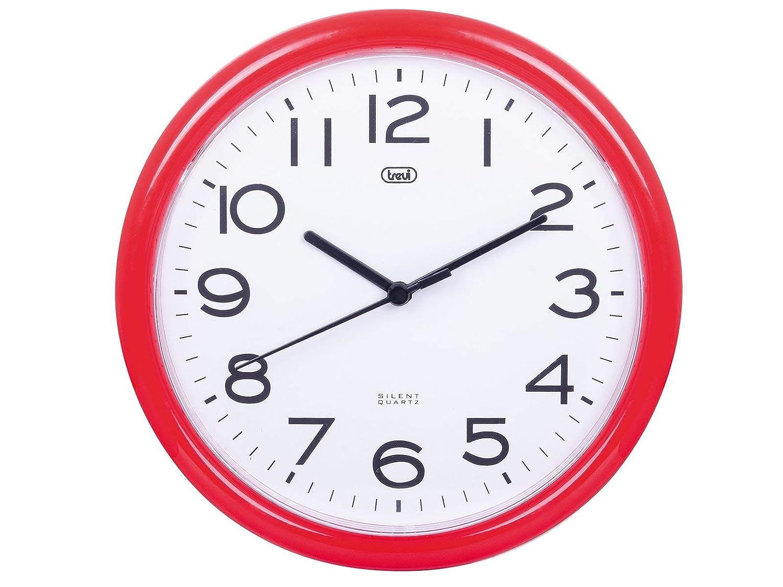 Trevi OM 3301 - Reloj de pared silencioso de 25,5 cm de diámetro con maquinaria de cuarzo, color azul: Amazon.es: Hogar