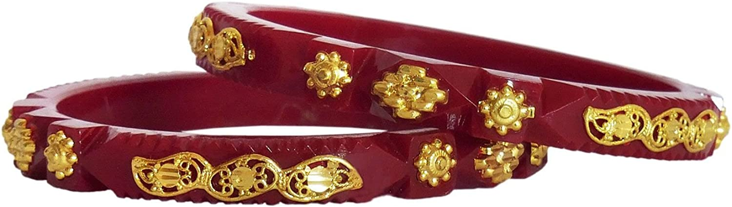 Size OM37 2.32 inches 2-5 and Dia DollsofIndia Pair of Gold Plated Acrylic Red Bangles