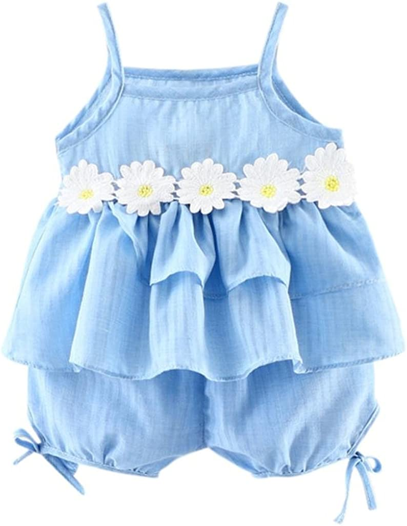 Solid Short 2pcs Summer Clothes Set Kehen Infant Baby Girl Small Daisy Print Strap Sleeveless Vest Top