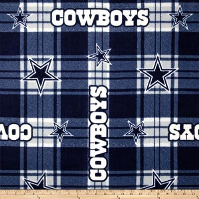 NFL Dallas Cowboys Plaid Fleece Blue/White Fabric By The Yard