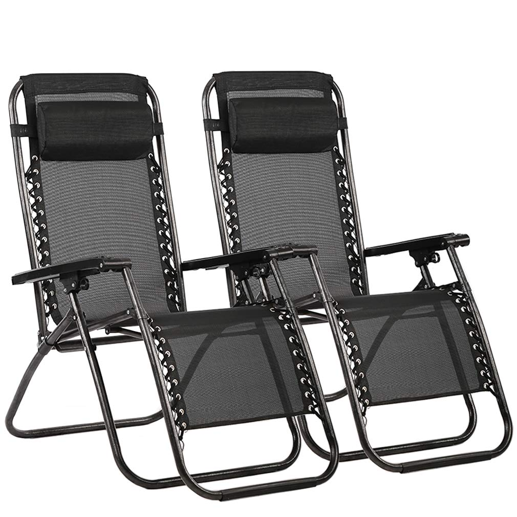 FDW Zero Gravity Chair Patio Lounge Recliners Adjustable Folding Set of 2 for Pool Side Outdoor Yard Beach, Black by FDW