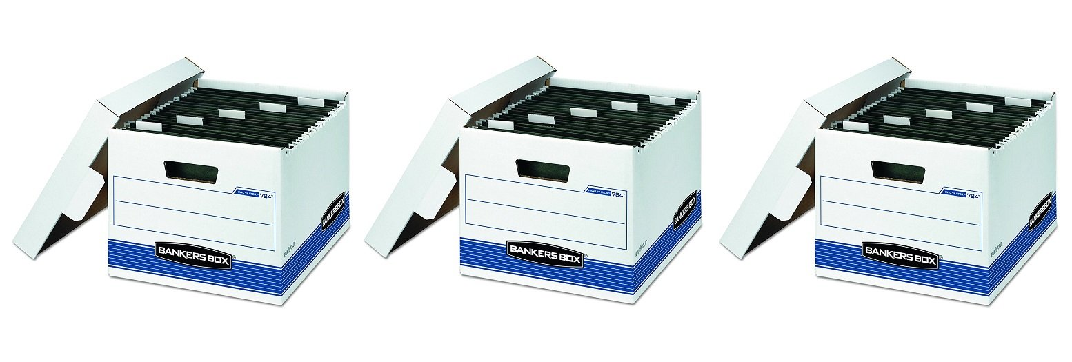 Bankers Box 00784 HANG'N'STOR Storage Box, Letter, Lift-off Lid, White/Blue (3 X Case of 4)