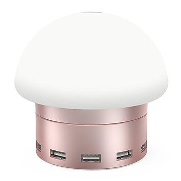 ChevetLamp Avec 6 Ports Tactile 9 Usb 5 Câble Modes D'éclairageContrôle Led Ajustable 30w Pieds Charger3 Moko Lampe 6a Et De Table j5RL4A