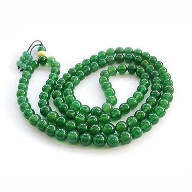 Ovalbuy 8 mm verde de rosario de cuentas de ágata joya Yoga ...