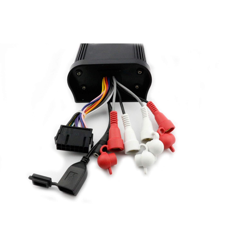 Amplificador de Coche Bluetooth Marino Est/éreo Impermeable Audio USB Cargador Mp3 Reproductor Aux RCA 500 Watios 4 Canales Audio Sistema de Sonido con Mando de Manillar Negro