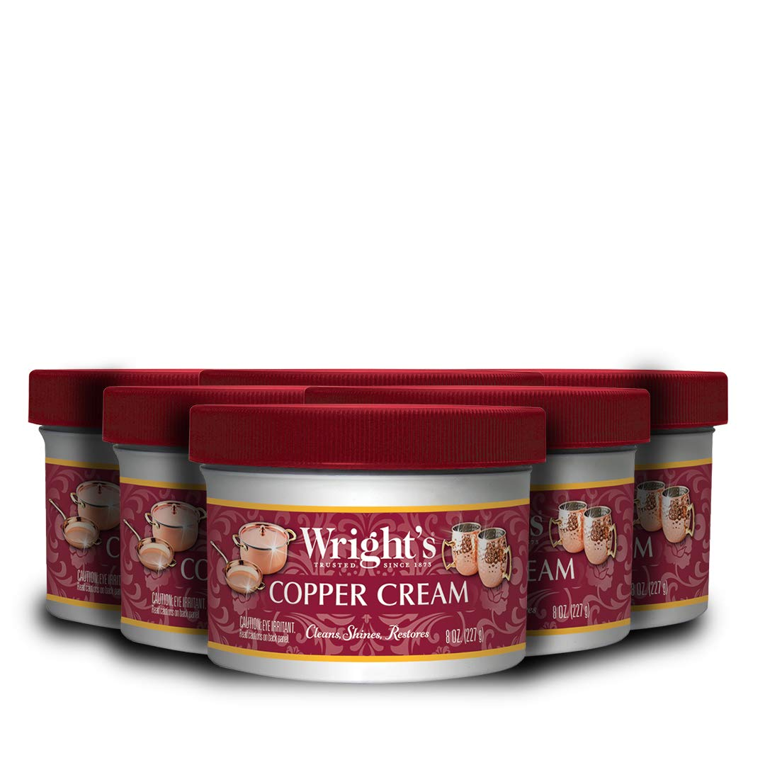 Wright's Copper and Brass Cream Cleaner - 8 Ounce - 6 Pack - Gently Cleans and Removes Tarnish Without Scratching by Wright's