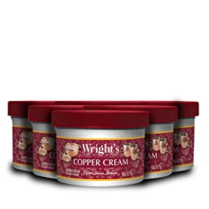 Wright's Copper and Brass Cream Cleaner - 8 Ounce - 6 Pack - Gently Cleans and Removes Tarnish Without Scratching