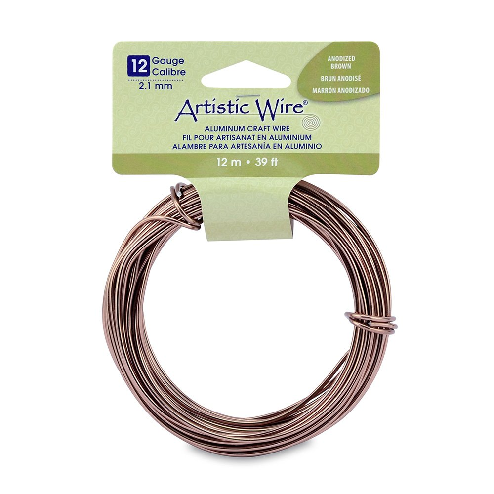 Artistic Wire 12 Gauge Round Anodized Aluminum Craft Wire Gold 39.3