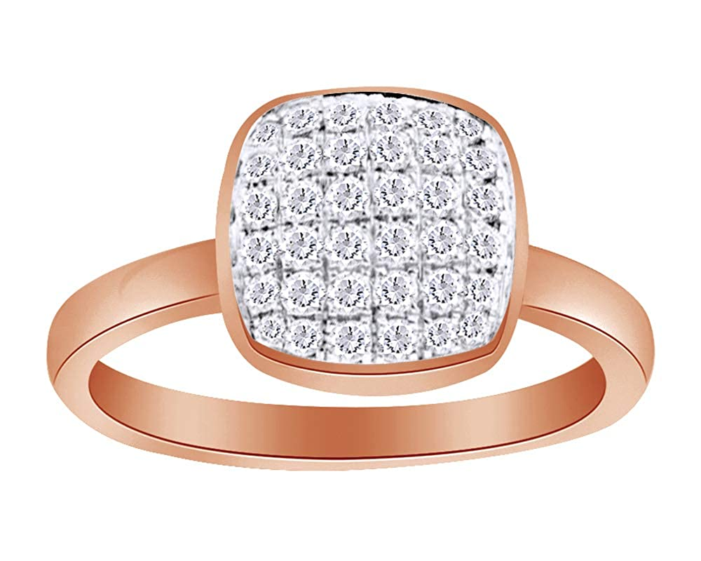 Wishrocks Round Cut White Cubic Zirconia Engagement Ring in 14K Rose Gold Over Sterling Silver