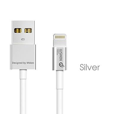 b2e2d99b45c WSKEN Apple MFI Certificado 1 M Metal Cable Cargador de 8 Pines Lightning a USB  Cable de sincronización de Datos Cable para iPhone 5 ...