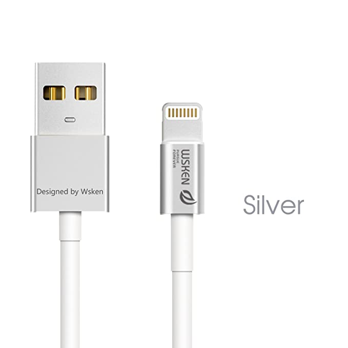 WSKEN Apple MFI Certificado 1 M Metal Cable Cargador de 8 ...