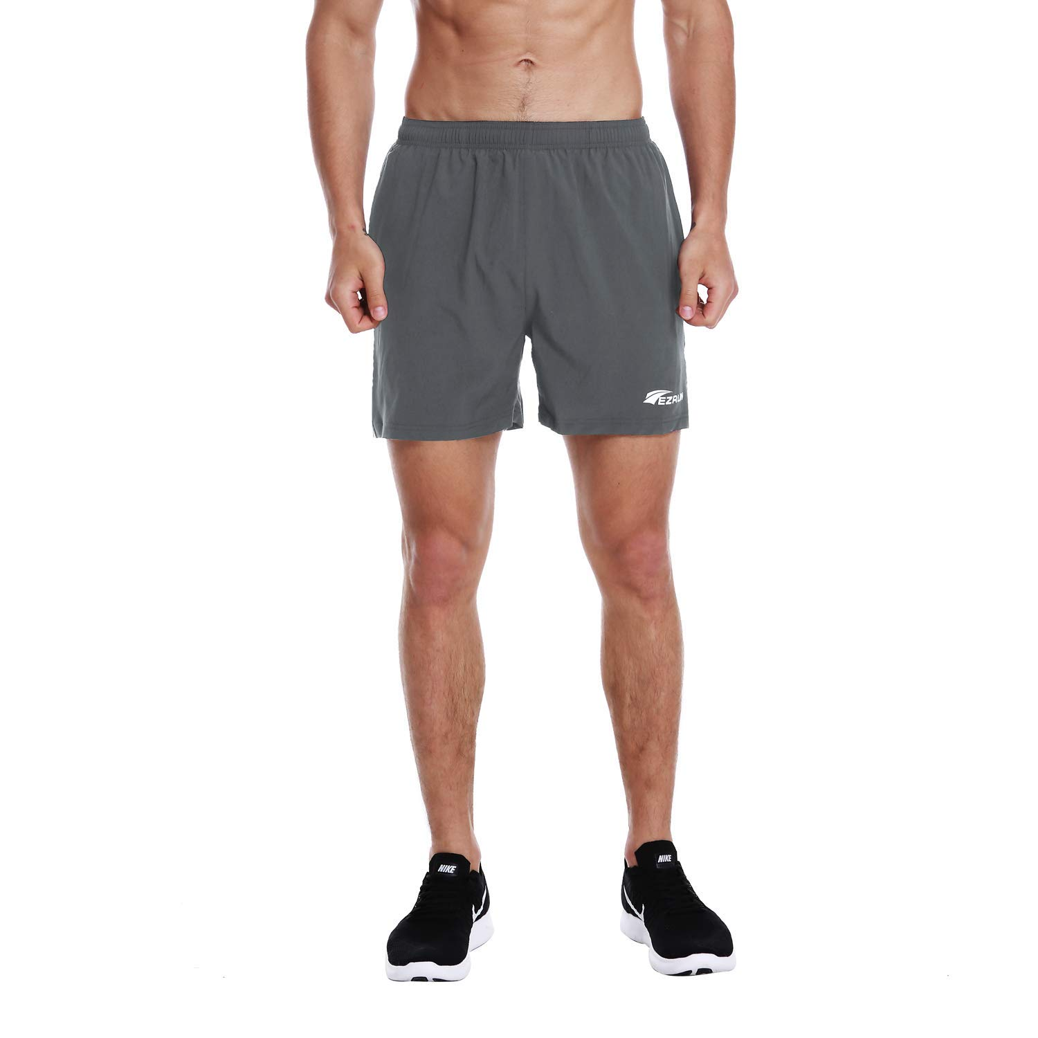 EZRUN Men's 5 Inches Running Workout Shorts Quick Dry Lightweight Athletic Shorts with Liner Zipper Pockets,Grey,XL by EZRUN