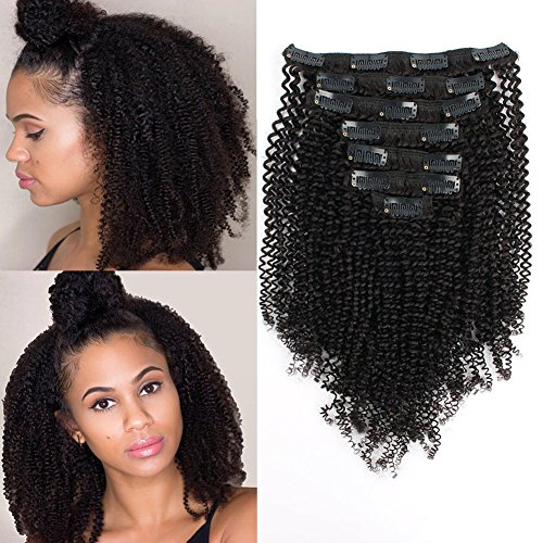 Search : AmazingBeauty 8A Grade Thick Real Remy Human 4B 4C Double Weft Kinkys Coily Clip Hair Extensions for African American Black Women, Natural Black, 120 Gram, 14 Inch
