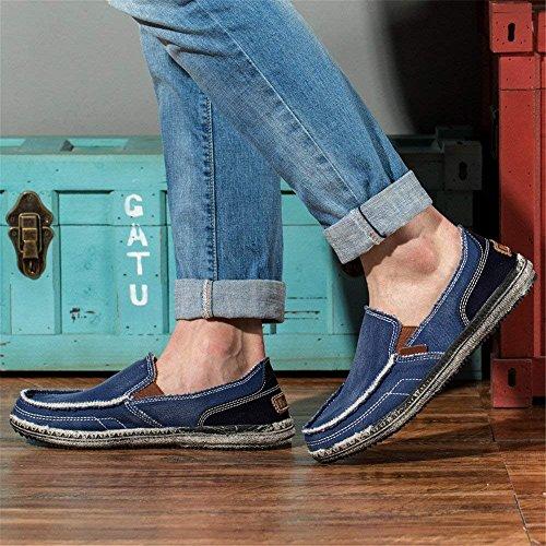 Hombre 39 Libre Mocasín Casual Al Cómodo Para 45 Mocasines Aire Azul Conducción Zapatos De Lona Ligero pEqwRRa