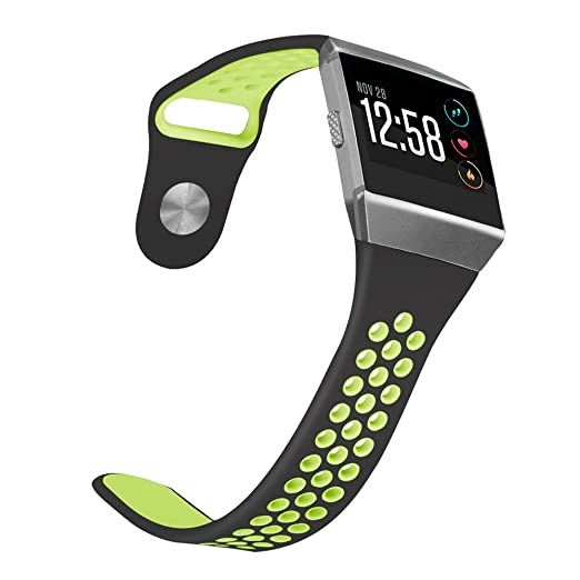 Amazon.com : Male Cousin Smart Watch Band, Two-Toned Perforated Breathable Sports Replacement Wristband for Fitbit Ionic Watch Small (Black/Yellow, ...