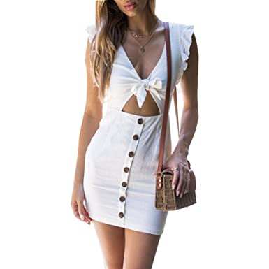 463edcc3f55 ANRABESS Womens Dresses Summer Sexy Tie Front V-Neck Button Down Bodycon  Swing Mini Dress
