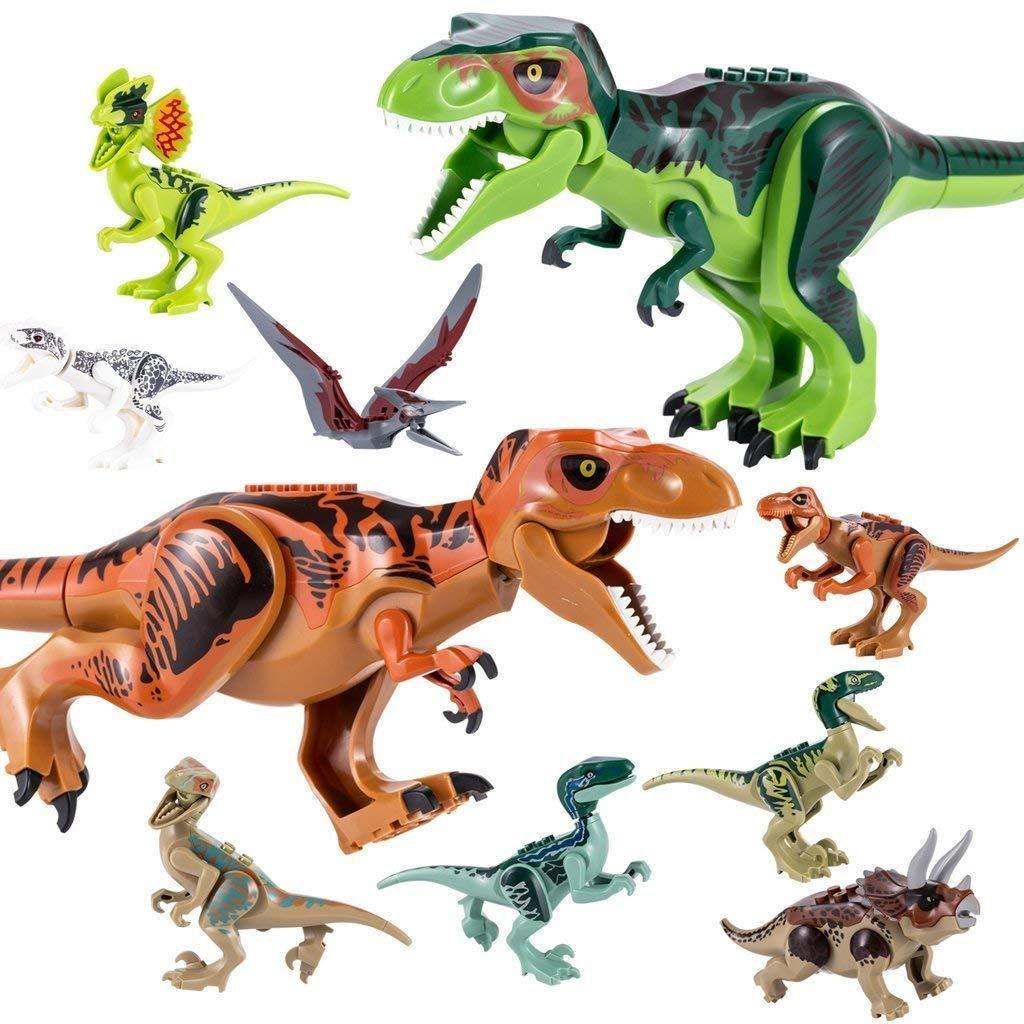 QILICZ 10stk Set Große Tyrannosaurus und klein Dinosaurier Spielzeug, Gelenke Sind beweglich,Welt Dinosaurier Kunststoff Dinosaurier Spielzeug Kindergeburtstag Party Dekoration ungiftig Kinder sicher