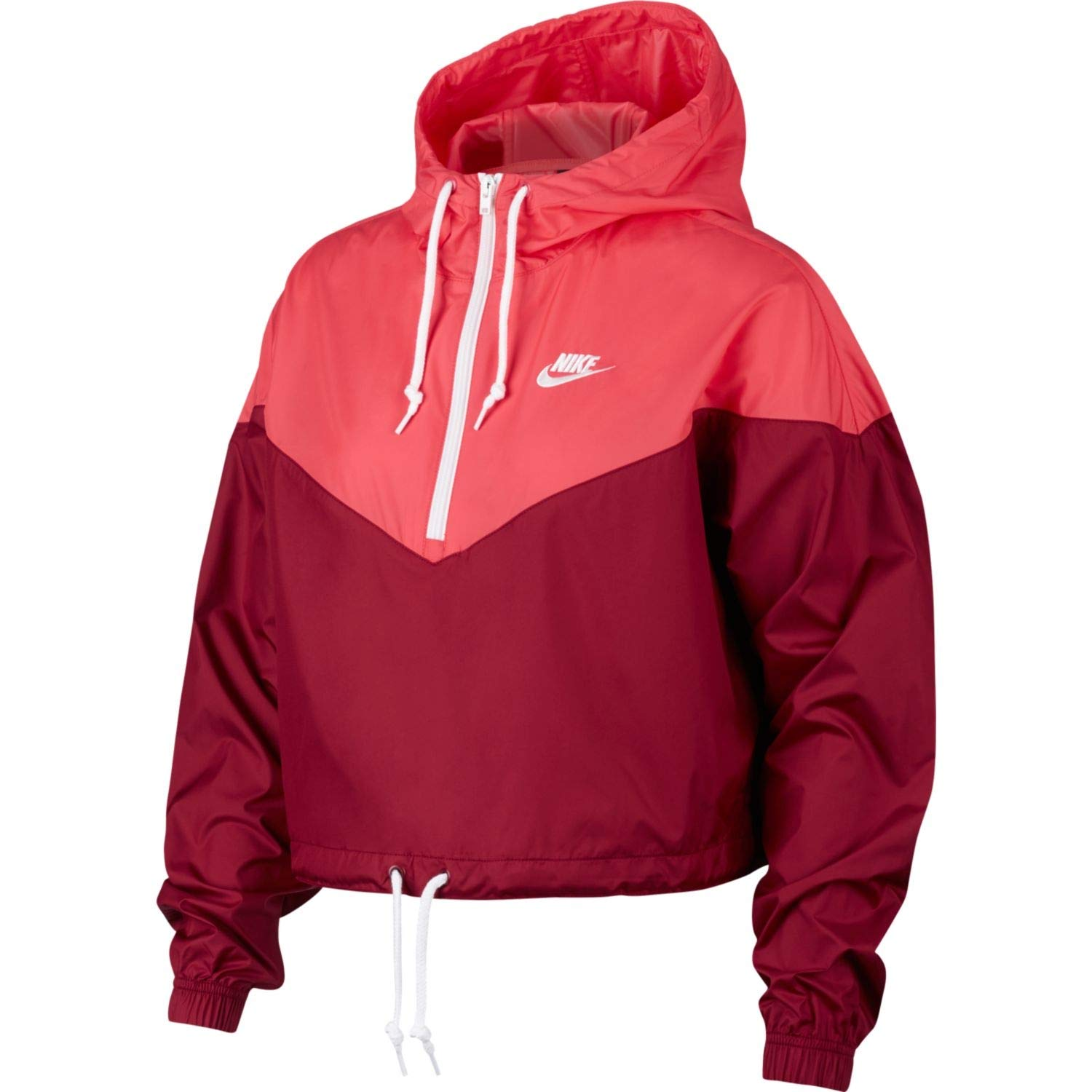 Nike Women\u0027s Half,Zip Adjustable Windbreaker, Team Red/Ember Glow/White