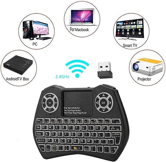 HaFen Mini Teclado Retroiluminado Touchpad Mouse, Mini Teclado Inalámbrico con Touchpad y Teclas Multimedia para Android TV Box: Amazon.es: Electrónica