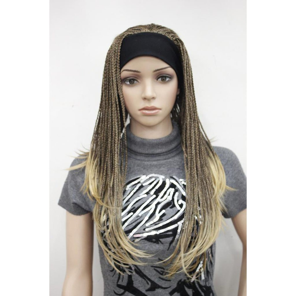 Gai Hua Home Gradient color hand-woven wig Africa long straight hair wig (Color : Yellow)