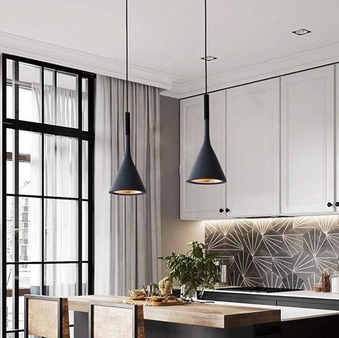 LIGHTXYX Modernas Luces Colgantes Accesorios de Cocina para Comedor Barras caseras Dormitorio Blanco Negro Rojo Iluminación Deco lámpara Colgante,Blanco,16X36CM: Amazon.es: Hogar