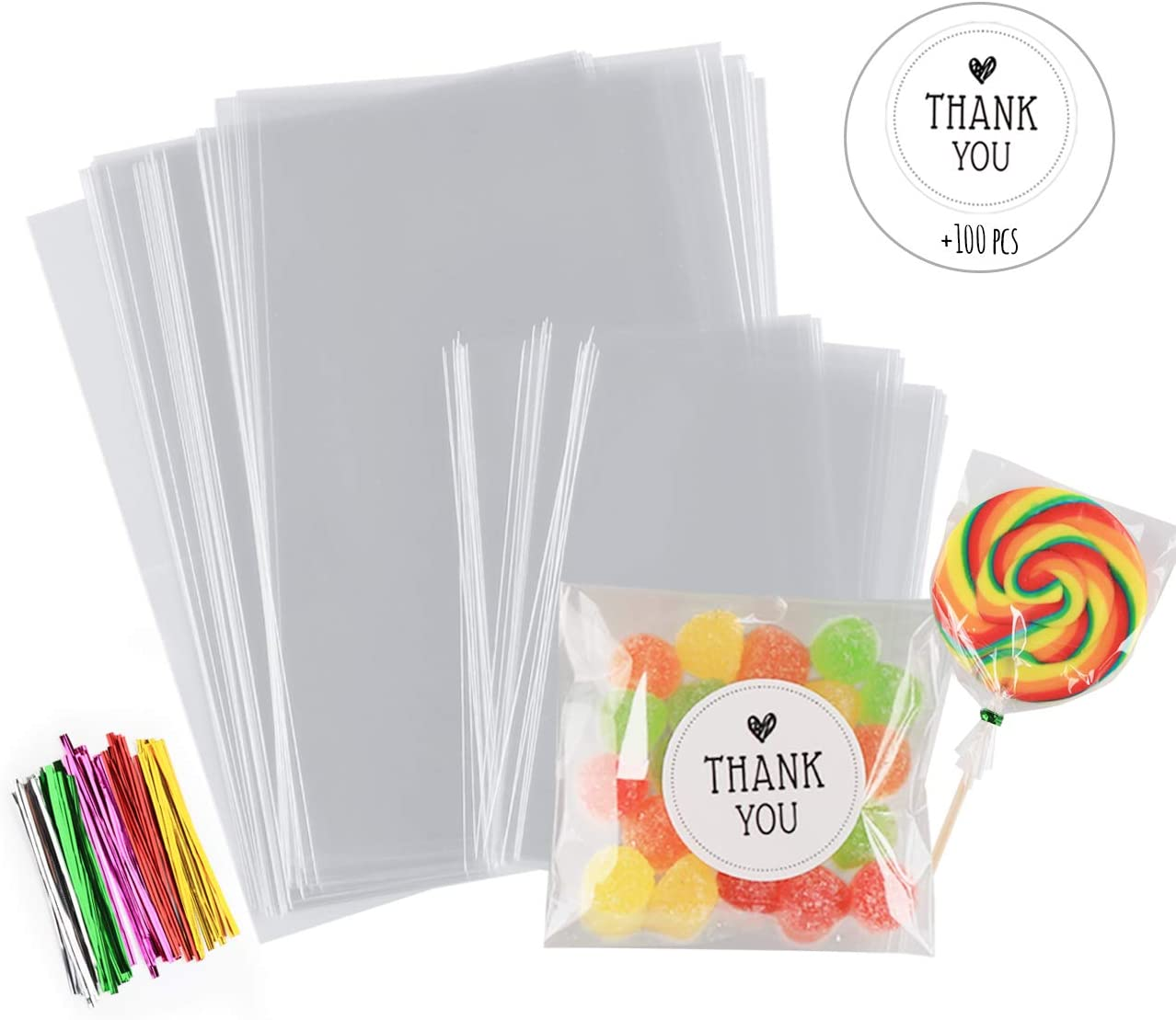 """Sweets Cookie 4/"""" x 6/"""" Clear Cellophane Lollipop Bags Quality Display Bags"""