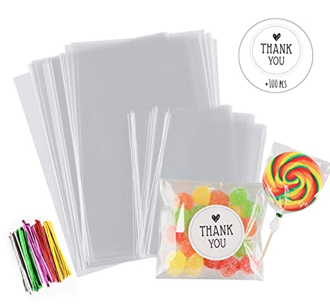 Amazon.com: 200 bolsas para dulces de 4.0 x 6.0 in, kit de ...
