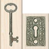 Inkadinkado Wood Stamp Set, Lock and Key