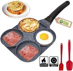 4 Egg Frying Pan - Non Stick Egg Pans Divided Egg Cooker Frying Pan - Aluminium Alloy Fried Egg Burger Pan for Breakfast,Pancake,Poached Egg