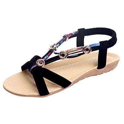 3e1e30ce18f Image Unavailable. Image not available for. Color  Women Bohemia Flat Sandal  - Ladies Open Toe Elastic T Strap Sandals - Summer Casual Beach