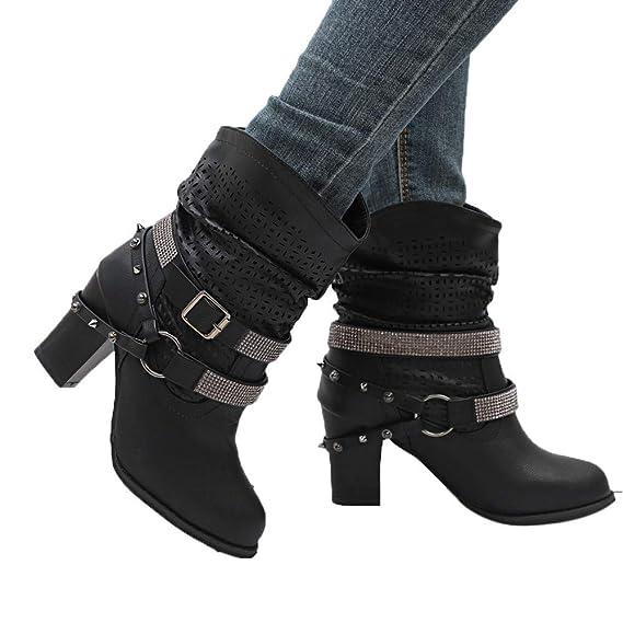 JiaMeng Mujer Otoño E Invierno Ahueca hacia Fuera el Tobillo Botas de tacón Medio Botas Zapatos Plano Botines Calentar Pelaje Botas De Nieve Atada Zapatos: ...