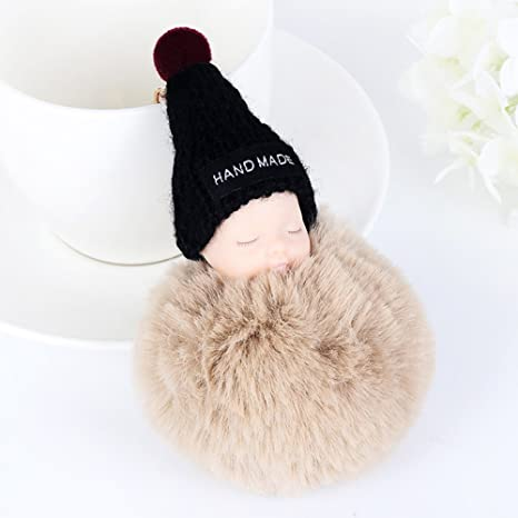 Amazon.com: Cute SLeeping Baby Doll Llavero pompón bola de ...